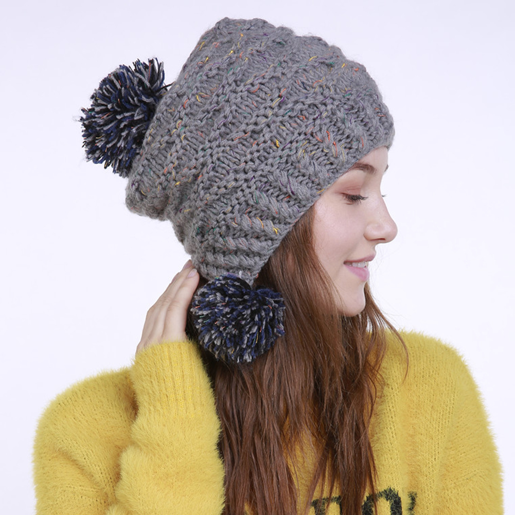 08054948476 Fashion Winter Warm Pom Pom Ball Bobble Hat Women s Knitted Beanie Cap Xmas  Gift image