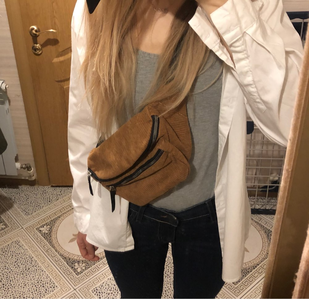 Vintage Corduroy Waist Pack Women Girls Chest Pouch Belt Bags Simple Fashion Messenger Shoulder Fanny Pack Heuptas Pochete photo review