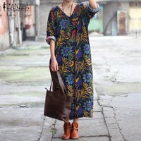 ZANZEA Fashion Women Floral Print Loose Maxi Long Dress Casual 3 4 Sleeves V Neck Split
