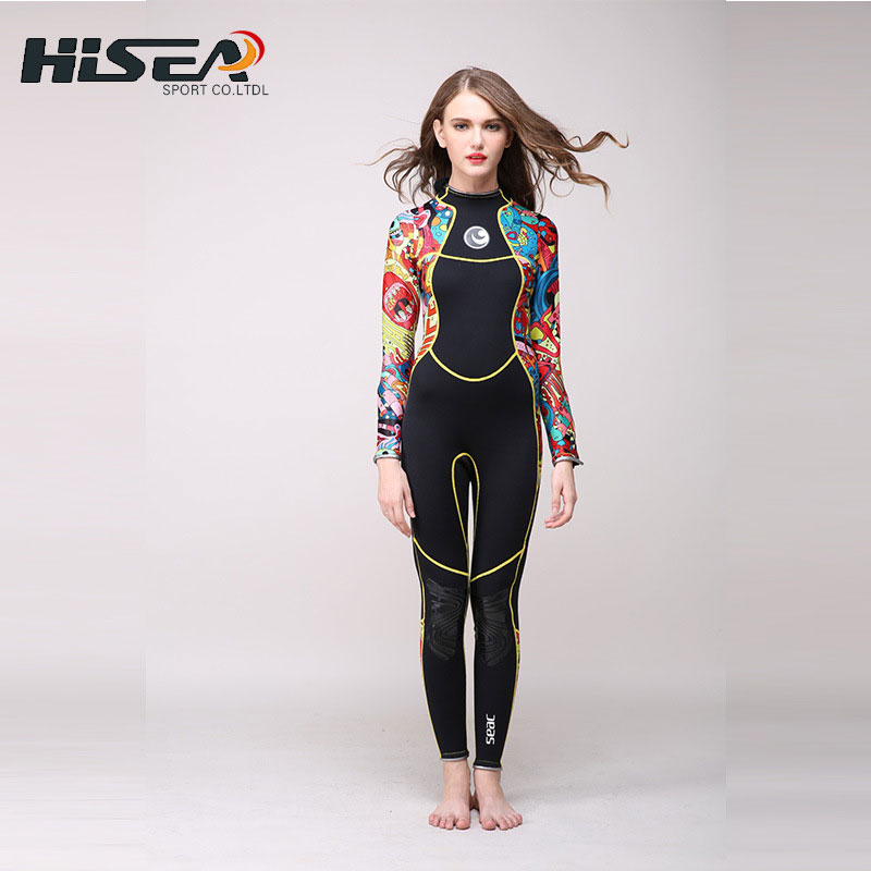 Women's Full Wetsuit 3mm Premium Neoprene Floral Printed Long Sleeve Wetsuits for Diving Snorkeling Scuba Surf Black XS to XXL