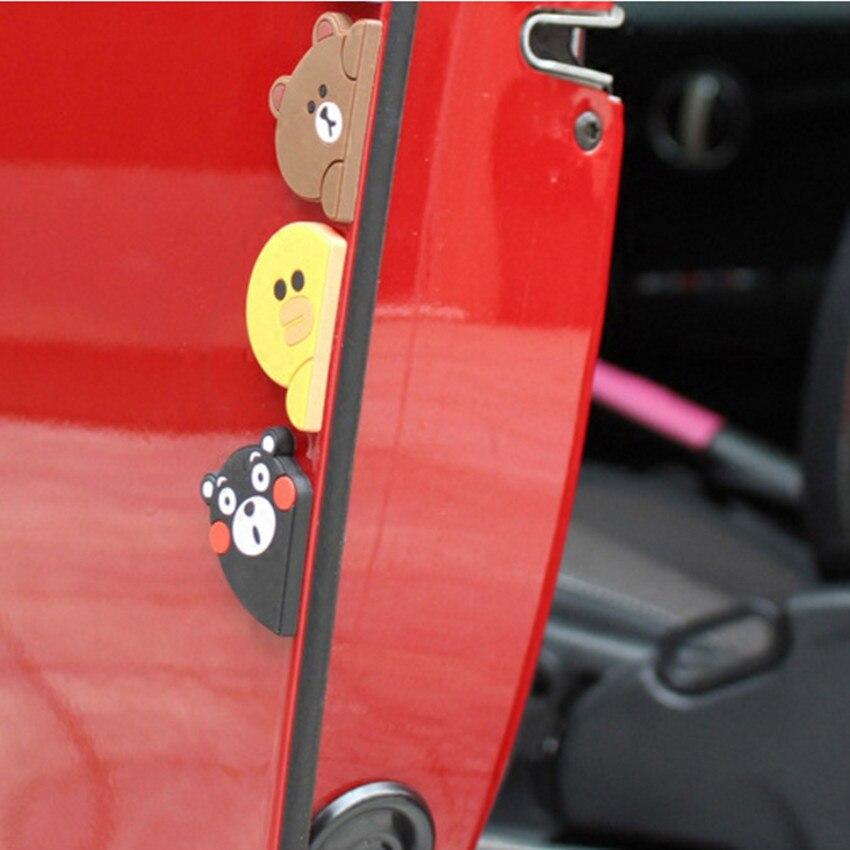 1 Pair Cute Car Styling Bear Cartoon Door Edge Scratch Guard Protector Rubber Bumper Strip For BMW VW AUDI FORD TOYOTA HONDA KIA