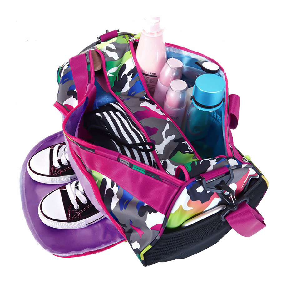 ee424822eca Multicolour Duffel Bag Gym Female Camo Fitness Sport Bags With Wet Shoes  Compartment Women Girls Pink Gym Waterproof Handbag -in Gym Bags from Sports  ...