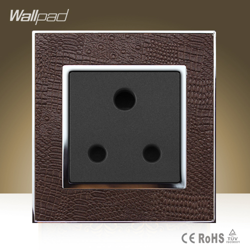 Wallpad Luxury 15A UK Socket Goats Brown Leather Panel UK South Africa 15A Industry Wall Socket  Free Shipping south africa argentina