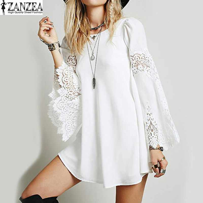 eb6976068b6 2018 ZANZEA Womens Sexy Party Lace Crochet Splice Flare Sleeve Mini Shirt  Dress White Hollow Out