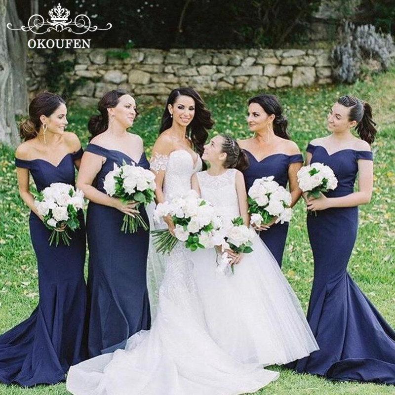 2018 Cheap Under 100 Mermaid Navy Blue   Bridesmaid     Dresses   Sexy Long Off Shoulder Party   Dress   For Wedding Formal Gown For Women