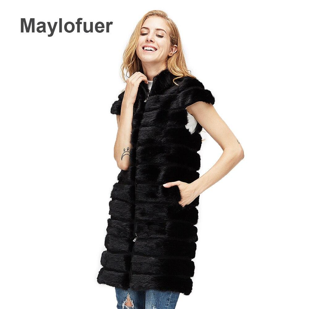 NEW Real mink fur coat genuine mink fur vest women fur waistcoat winter detachable length fur