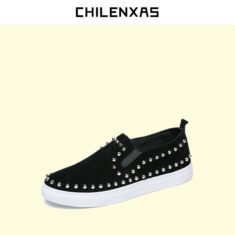 CHILENXAS 2017 Summer Genuine Leather Men Casual Shoes New Fashion Breathable Loafers Slip-On Waterproof Solid  Rivet Light cbjsho british style summer men loafers 2017 new casual shoes slip on fashion drivers loafer genuine leather moccasins