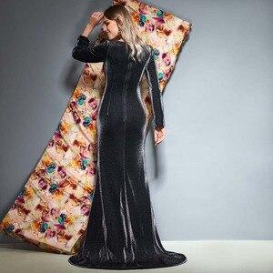 Image 3 - Dressv abito da sera con scollo a v maniche lunghe pieghe di lunghezza del pavimento della sirena di cerimonia nuziale del partito del vestito convenzionale tromba abiti da sera
