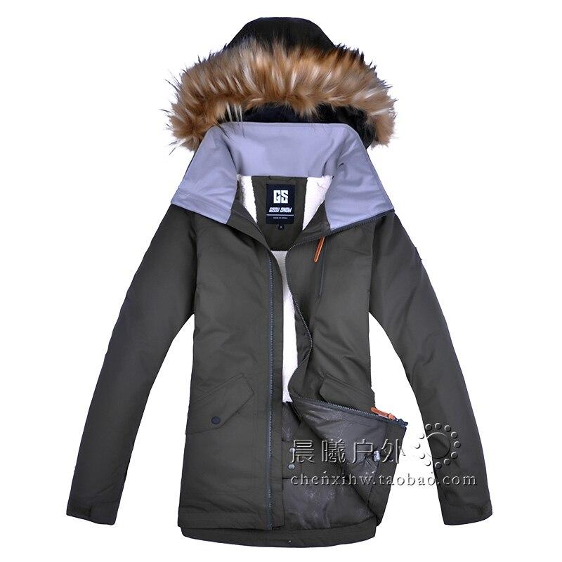 2019 GSOU neige femmes veste de Ski Snowboard veste vêtements d'hiver coupe-vent imperméable à l'eau fourrure sports de plein air porter femme manteau épaissir - 4