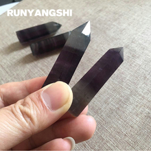 Fluorite Column 2 Tips Purple and Tansparent Natural Stones Minerals High Quality Wholesale Factory Stone Runyangshi ZY15