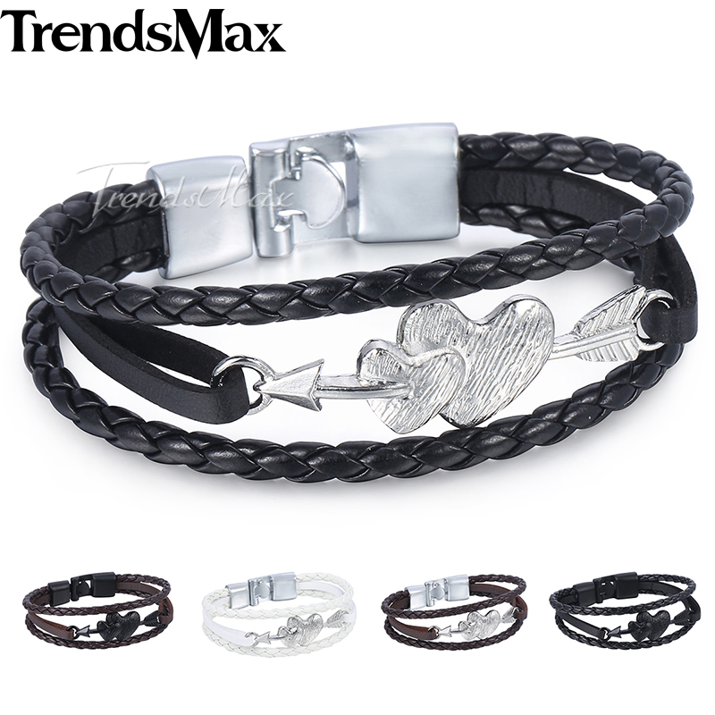 Dropshipping Women's Men's Heart Charm Leather Bracelet Braided Rope Chain Leather Bracelets 2018 Jewelry For Men Women KLBM116