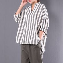 a73117662f486 2018 Autumn Women Vintage Stripe Cotton Linen Irregular Hem Spring Baggy V  Neck Batwing Sleeve Casual Shirt Blouse Top Plus Size