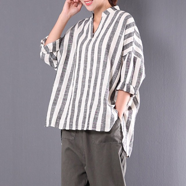 cb40ea3c6e7 2018 Spring ZANZEA Plus Size M 5XL Cotton Linen Blouse Women Stand Collar V Neck  Loose Irregular Shirts Retro Baggy Striped Tops