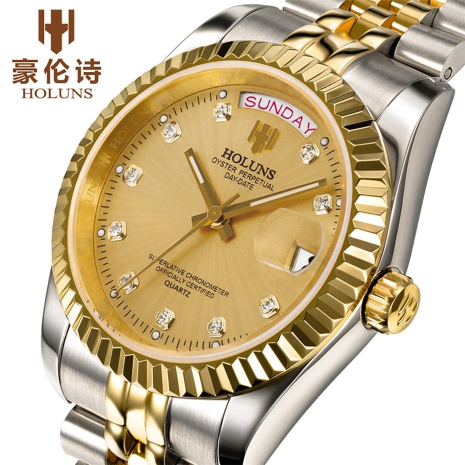Fashion Watch Luxury Top Brand HOLUNS Steel Men Watches Luminous Waterproof Wristwatch Men Quartz Clock for Simple Gift