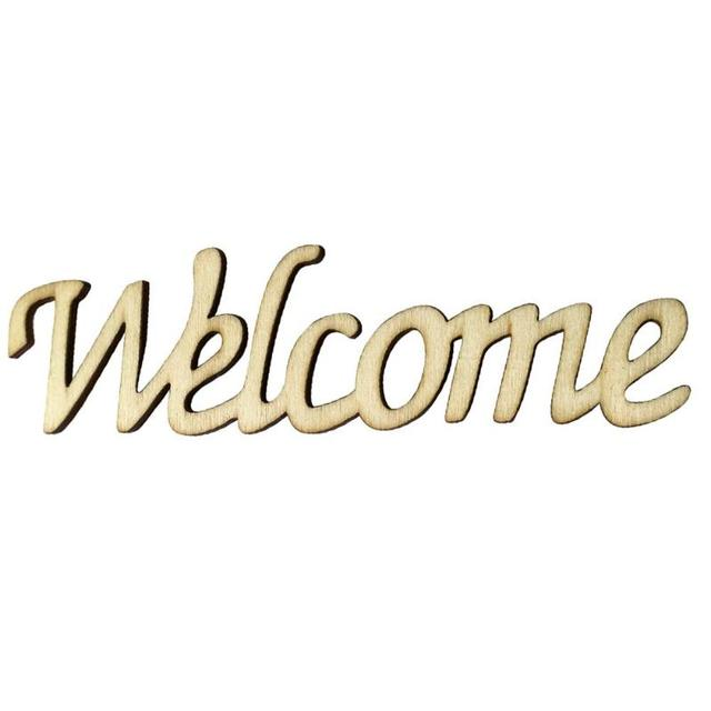 Wood Wall Sticker Welcome Word Sign Ornaments Home Room Hanging