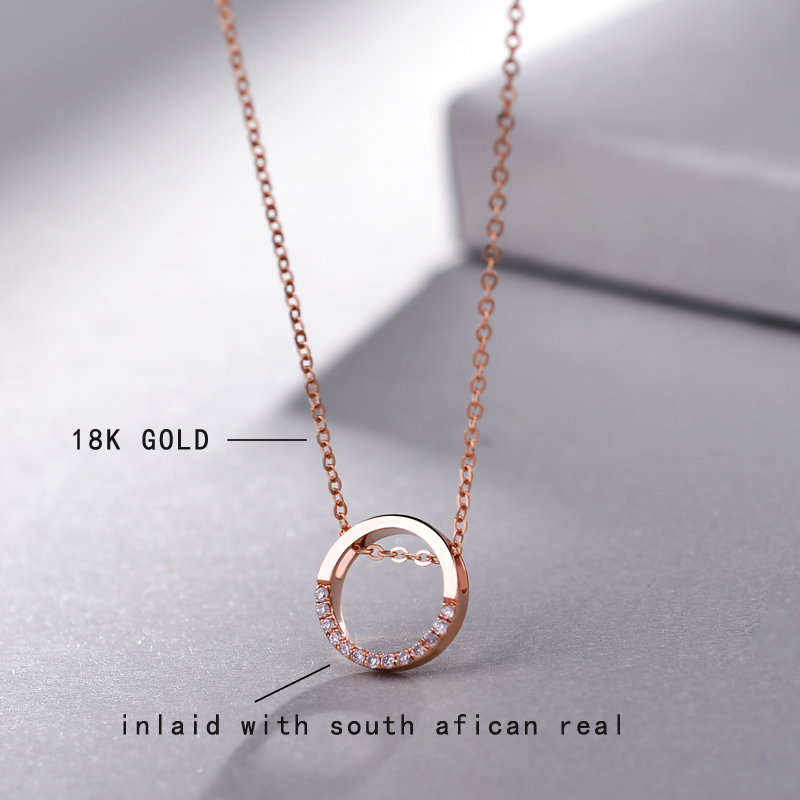 18K Rose Gold South African Diamond Chokers Necklace Korean Female