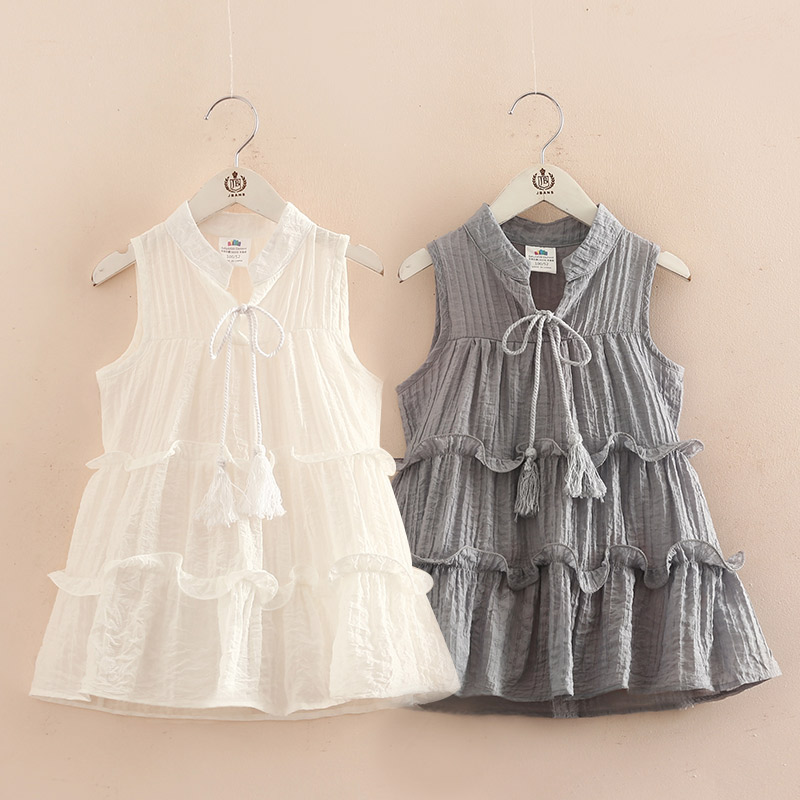 2018 Summer Cool 3-12 Years Solid Colour Confident Princess Sleeveless White Gray Teenage Girls Layered Dresses Beach Dress Kids