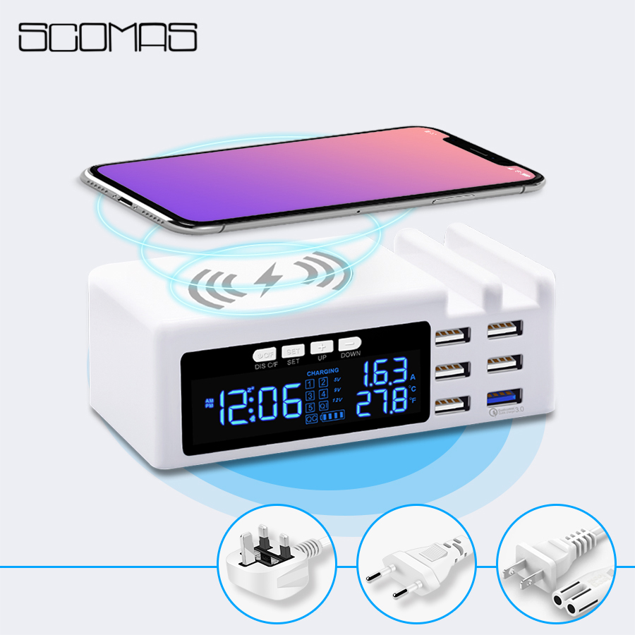 все цены на SCOMAS 45W 3 in 1 6 Ports USB Smart Socket Multi Home Travel Wall Power Adapter With LCD QC3.0 Quick Charge+Wireless Charger онлайн