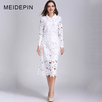 Spring Autumn Fashion Women Plus Size 4XL White Lace Twin Set Blouse Slim Skirt Hollow Out