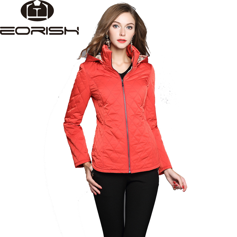 2017 New Hooded Quilted Jacket Women Zipper Fly Coats Female Slim Fitting Winter Jackets Large Size Khaki Red Blue Black XXL