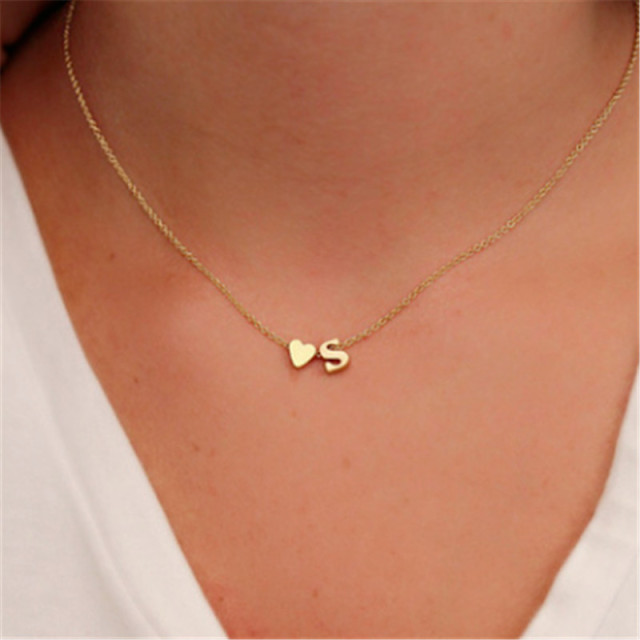 Fashion Tiny Dainty Heart Initial Necklace Personalized Letter Necklace Name Jewelry for women accessories girlfriend gift ^1000006461222