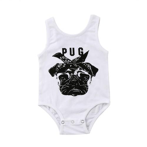 0-24 Mt Neugeborenes Kind Kinder Baby Jungen Mädchen Bodys Sommer Baumwolle Nette Sleeveless Bulldog Weste Overall Outfits Baby Kleidung Bequemes GefüHl
