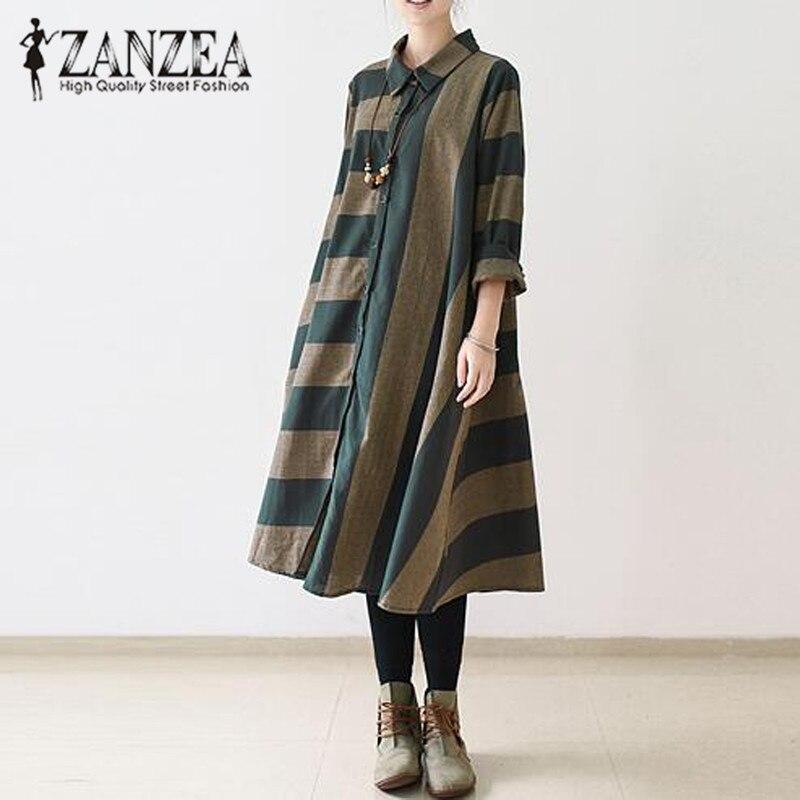 2018 ZANZEA Autumn Lapel Neck Long Sleeve Loose Long Shirt Dress Women Casual Vintage Striped Buttons Party Vestido Plus Size