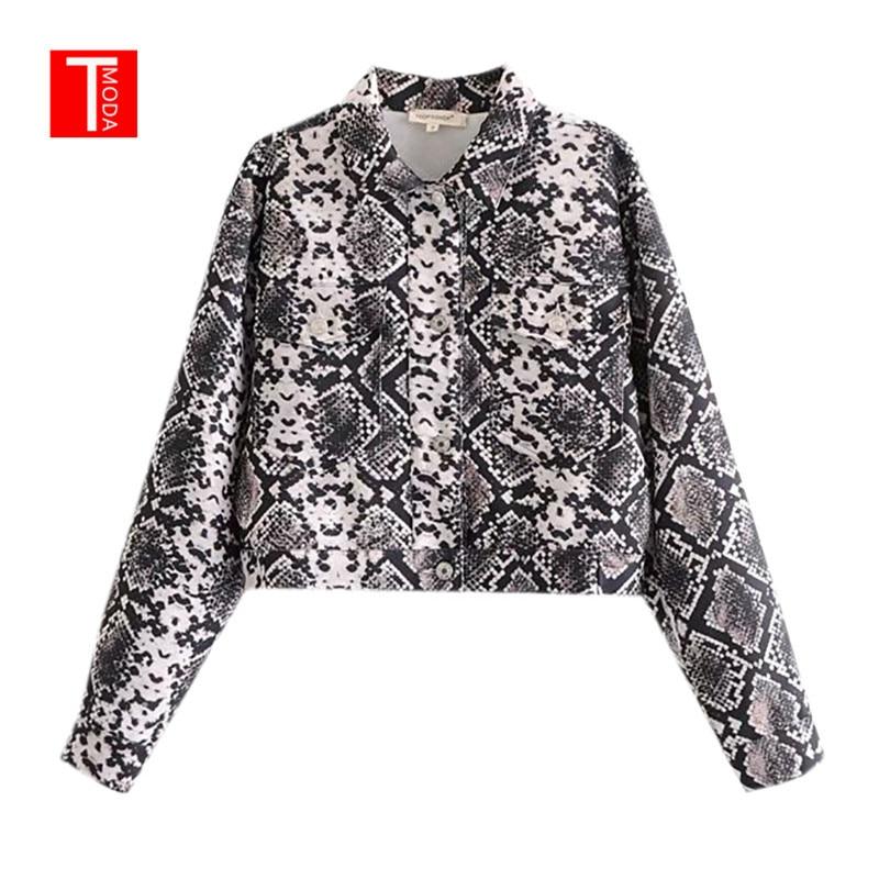 Jackets & Coats Candid 2018 Autumn Snake Print Loose Bomber Jacket Oversized Pockets Long Sleeve Coats Female Autumn Casual Outerwear Tops