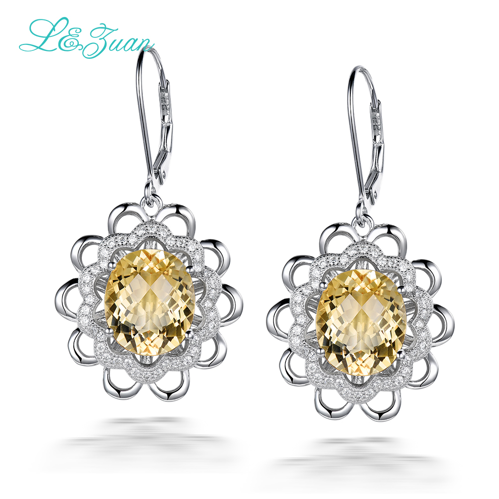 L&zuan Wedding Anniversary Earrings For Women 7.38ct Drop Earring Citrine Real 925 Sterling Silver Luxury Jewelry E0068-W05L&zuan Wedding Anniversary Earrings For Women 7.38ct Drop Earring Citrine Real 925 Sterling Silver Luxury Jewelry E0068-W05