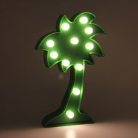 New Coconut Tree Shape LED Lights Green Battery Operated Desktop Wall Hanging Lamp Wedding Gift Summer