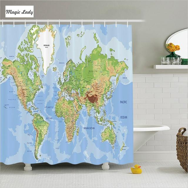 Shower Curtain Bathroom Accessories Education World Map Globe Oceans Earth Lands Blue Green Beige 180