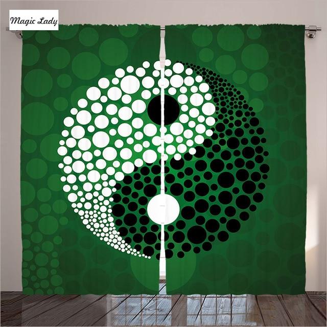 Grün Vorhänge Wohnzimmer Schlafzimmer Yin Yang Form Natur Zen Meditation  Decor Dots Design Schwarz Weiß 2