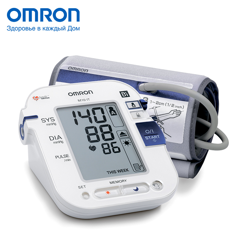 Omron M10-IT (HEM-7080IT-E) Blood pressure monitor Home Health care Heart beat meter machine Tonometer Automatic Digital omron m3 eco hem 7131 aru blood pressure monitor home health care monitor heart beat meter machine tonometer automatic digital