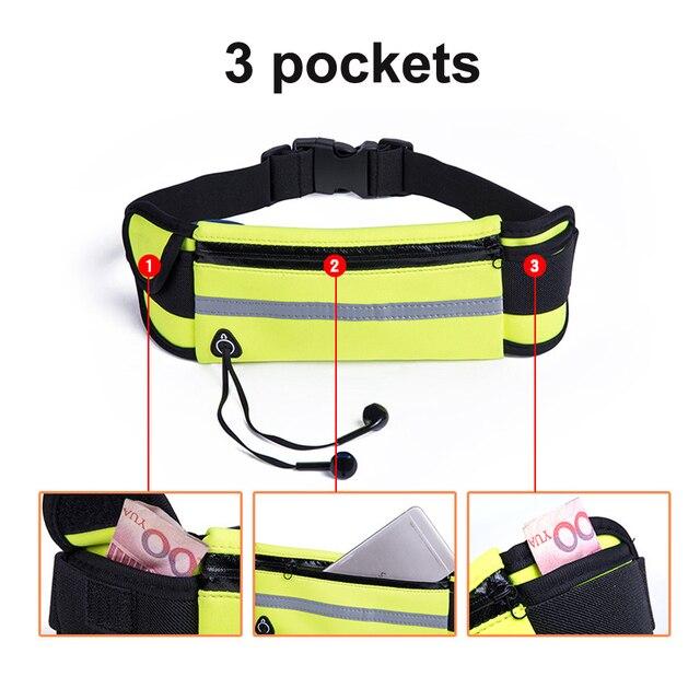 NEWBOLER Running Waist Bag Waterproof Sport Fanny Packs Phone Holder Fitness Cycling Belt Bag For Men Women Pink GYM Accessories 6