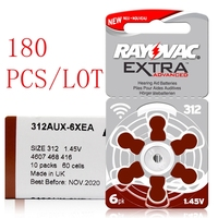 180 Pcs/Lot Hearing Aid Batteries 13A PR48 ZA13 /312A PR41 ZA312/10A PR70 ZA10 Zinc Air Battery For Rayovac Extra Hearing aids