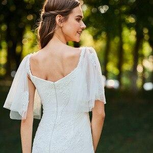 Image 5 - Dressv marfim mermaid lace vestido de noiva pescoço namorada mangas curtas até o chão de noiva ao ar livre & igreja vestidos de casamento
