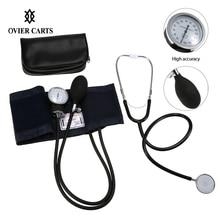 Medical Estetoscopio Stethoscope & Aneroid Sphygmomanometer Cuff Kit Upper Arm Blood Pressure Monitor With Storage Bag Tonometer цены онлайн