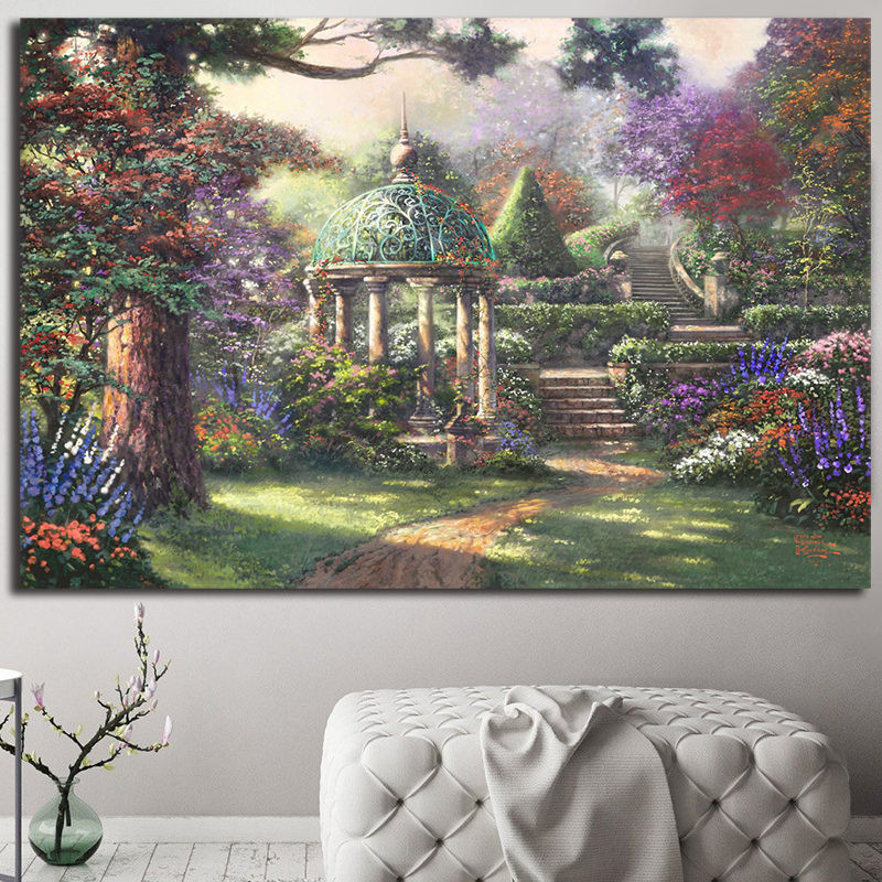 Gazebo Of Prayer Painting Garden Thomas Kinkade Posters And Prints Decorative Wall Art Pictures For Living Room Home Decoration