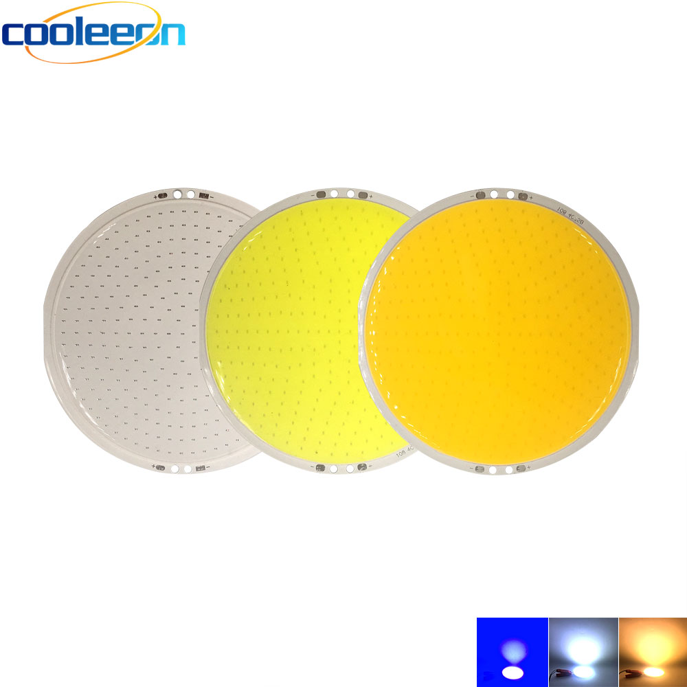 COOLEEON 108mm 4.17in Diameter Round COB LED Light Bulb 12V 50W Circular COB Chip On Board Blue Warm Cold White Color DIY Lamps