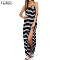 Plus Size S 5XL ZANZEA Women Spaghetti Straps Party Evening Sundress Sexy Boho Striped High Split