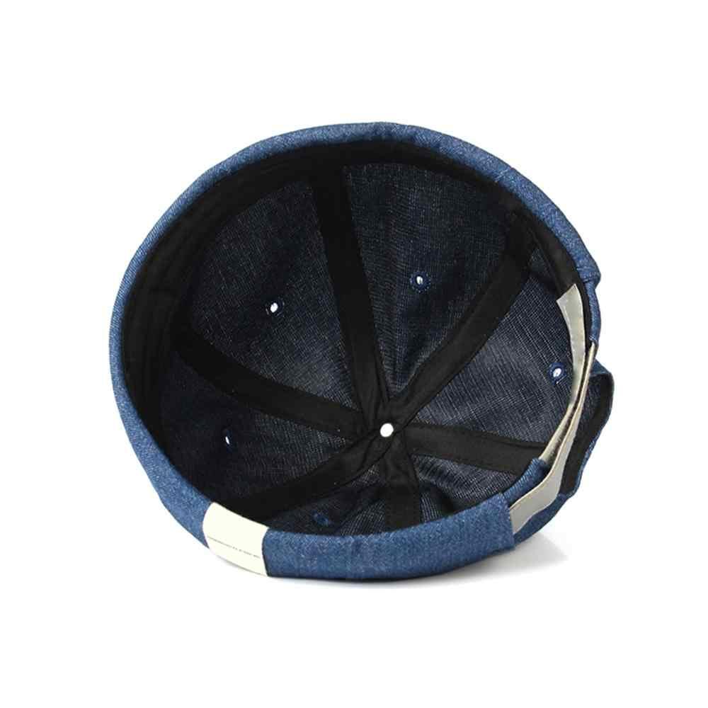 Yeni varış erkekler kadınlar kafatası şapka kap rahat Docker denizci mekanik Brimless Unisex pamuk güneşlikli kep kore tarzı Hip Hop şapka