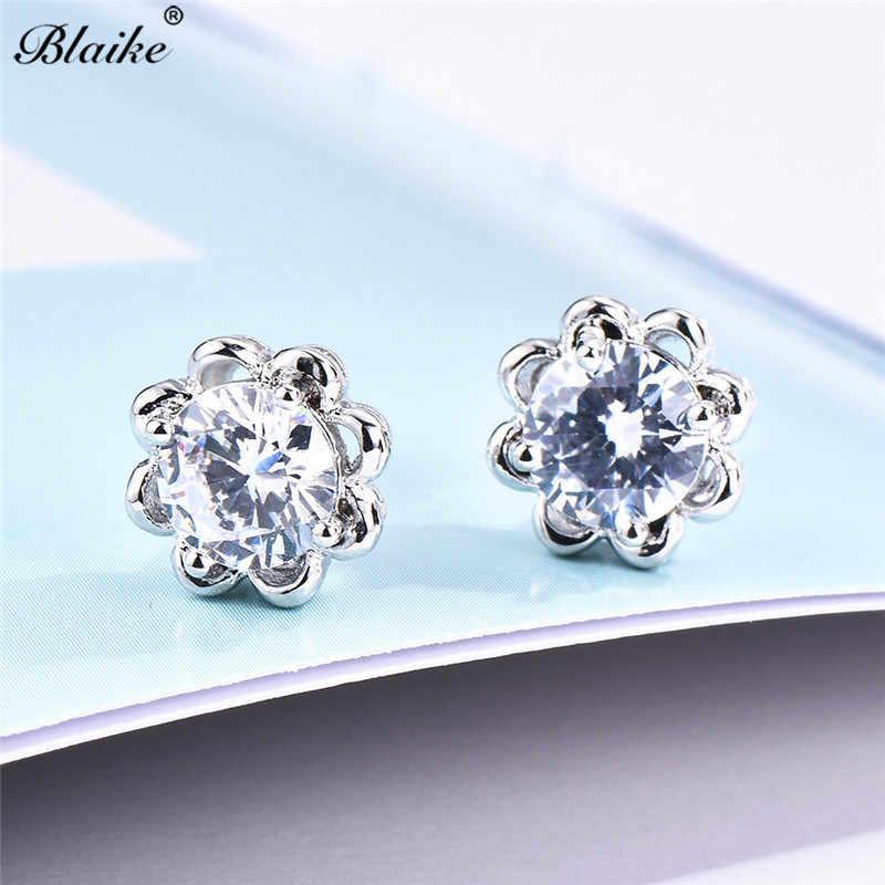 Blaike 925 Sterling Silver Filled Designer Flower Stud Earrings for Women Vintage Fashion Jewelry White Crystal Zircon Earrings
