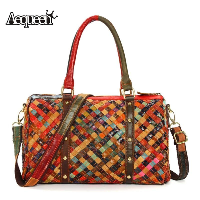 AEQUEEN Genuine Leather Handbag Women Vintage Sheepskin Boston Tote Bag Rivet Shoulder Bag Weave Top-handle Bags