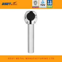 BEST METAL Flush Mount 30 Degree stainless steel 316 oval shape flange fishing rod holder with ring for boat fishing