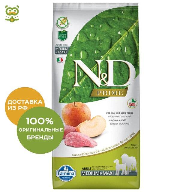 N&D Dog Boar & Apple Adult корм для взрослых собак всех пород, Кабан и яблоко, 12 кг.