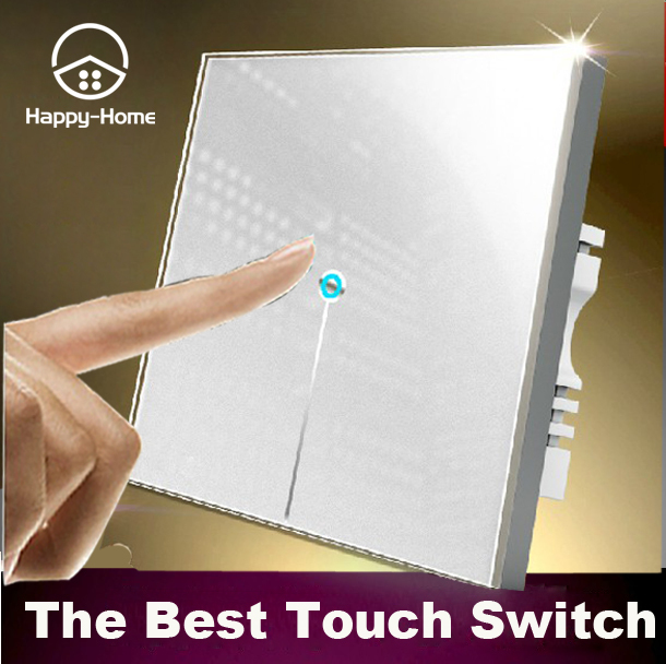 Wallpad 1 gang 1 way White Crystal Glass touch light switch,LED light switch touch 110V~220V, Free Customize LOGO,Free Shipping smart home us au wall touch switch white crystal glass panel 1 gang 1 way power light wall touch switch used for led waterproof