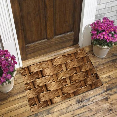 Else Brown Wicker Bamboo Floral Nature 3d Pattern Print Anti Slip Decorative Floor Door Mat Home Entryway Livingroom