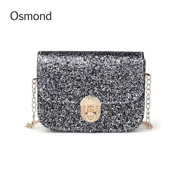 c3817da09fd6 Osmond 2017 Fashion Women Evening Sequin Bag Chain Bags Black Shiny Clutch  Bling Cossrboby Shoulder Mini Flap Party Wedding Girl