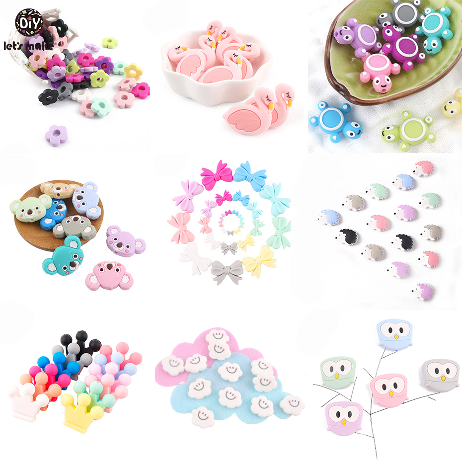 Let's Make Baby Silicone Teether Pendant 5pc Children's Jewelry Pendant DIY Jewelry Make Necklace Baby Products Nursing Pendant