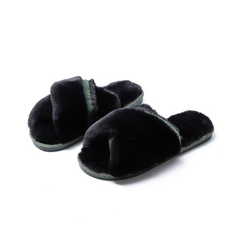 2018 novas Mulheres Chinelos Em Casa de Inverno com Pele Do Falso Moda Sapatos Quentes Mulher Deslizamento em Flats Feminino Desliza aleta Chão flops c213